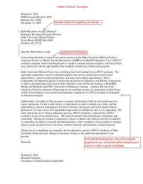 University Letter of Intent Sample Template