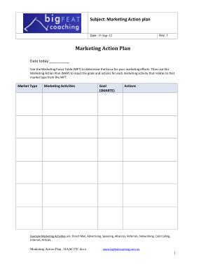 Free Download PDF Books, Marketing Action Plan(1) Template
