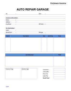 Free Download PDF Books, Auto Repair Estimate Invoice Template