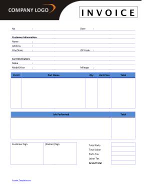 Free Download PDF Books, Auto Repair Invoice Template