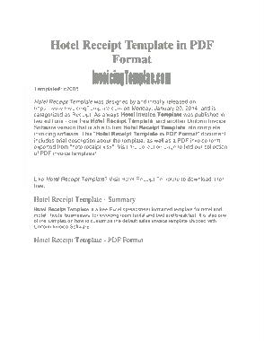 Free Download PDF Books, Hotel Bill Recept Template
