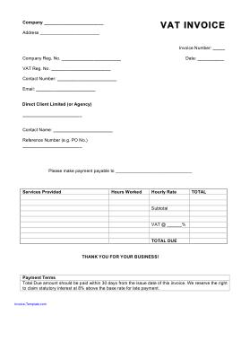 Business Tax VAT Invoice Template
