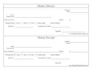 Cash Invoice Money Recept Format Template