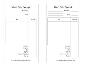 Cash Invoice Sale Receipt Template