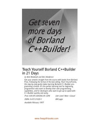Teach Yourself Borland C++ Builder In 21 Days