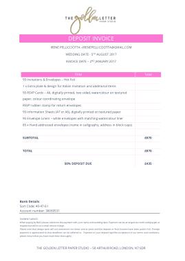 Free Download PDF Books, Deposit Invoice Template