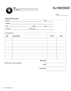 Free Download PDF Books, Blank Dj Invoice Template