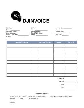 Free Download PDF Books, Wedding Dj Invoice Template