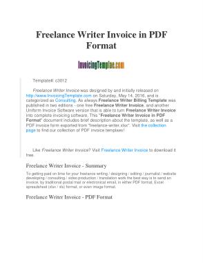 Free Download PDF Books, Freelance Writer Invoice Template