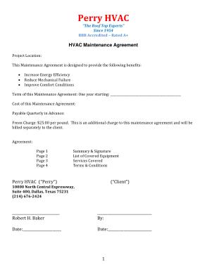 Free Download PDF Books, HVAC Maintenance Agreement Invoice Template