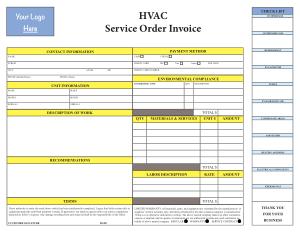 Free Download PDF Books, HVAC Service Invoice Sample Template