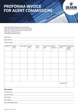 Proforma Invoice Agent commission Template