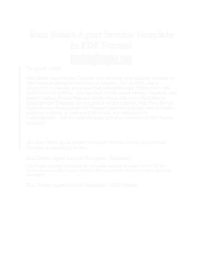Free Download PDF Books, Real Estate Agent Invoice Sample Template