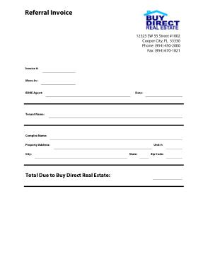 Free Download PDF Books, Real Estate Referral Invoice Template