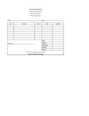 Free Download PDF Books, Editable Restaurant Invoice Template