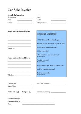 Free Download PDF Books, Blank Car Sales Template