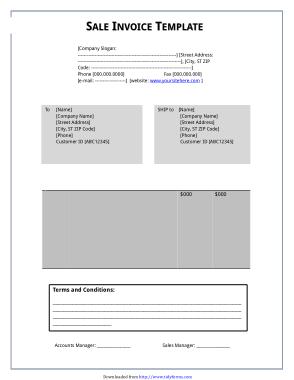 Company Sales Invoice Template