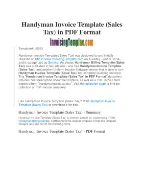 Free Download PDF Books, Handyman Invoice Template