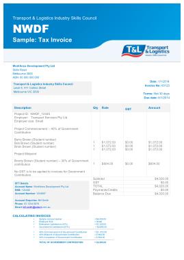 NWDF Sample Tax Invoice Template