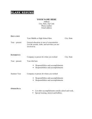 Free Download PDF Books, Blank Resum CV Template