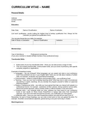 Free Download PDF Books, Curriculum Vitae CV Template