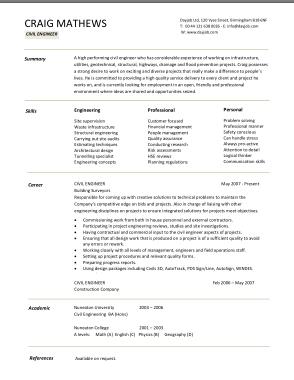 Free Download PDF Books, Civil Engineering CV Template