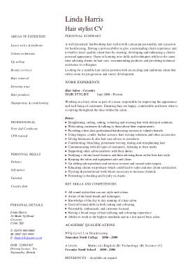 Free Download PDF Books, Creative Hair Stylist CV Template
