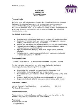 Retail CV Example Template