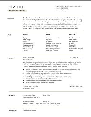 Free Download PDF Books, Standard Retail CV Template