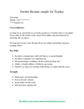 Sample Fresher CV for Teacher Template