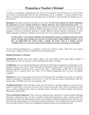 Free Download PDF Books, Sample Teaching CV Template
