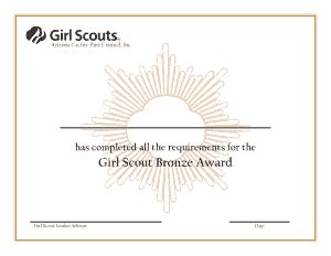 Girl Scout Bronze Award Certificate Template