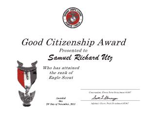 Free Download PDF Books, Good Citizenship Award Certificate Template
