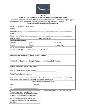 Free Download PDF Books, Air Travel Pet Veterinary Birth Certificate Template