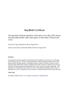 Sample Dog Birth Certificate Template