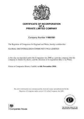 Private Company Incorporation Certificate Template