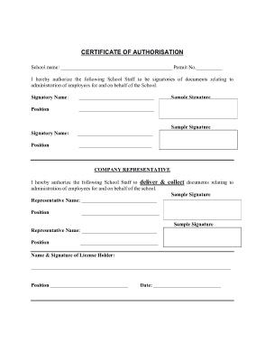 Certificate of Authorisation Template
