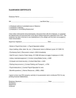 Job Clearance Certificate Template