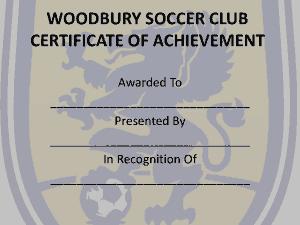 Soccer Club Certificate of Achievement Template