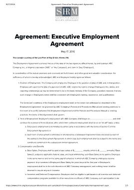 Sample Executive Employment Agreement Template