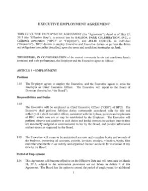 Standard Executive Employment Agreement Template