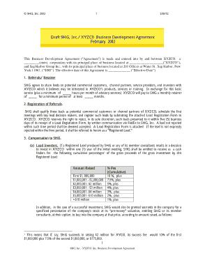 Free Download PDF Books, Draft SHG XYZC0 Business Development Agreement Template