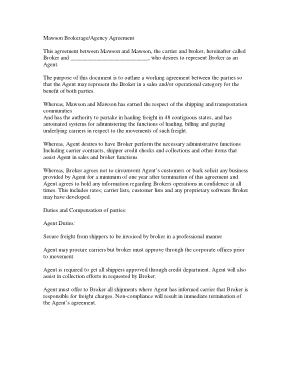 Free Download PDF Books, Mawson Brokerage Agency Agreement Template