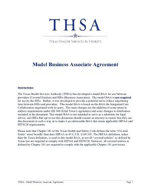 Free Download PDF Books, Model  Business Associates Agreement Template