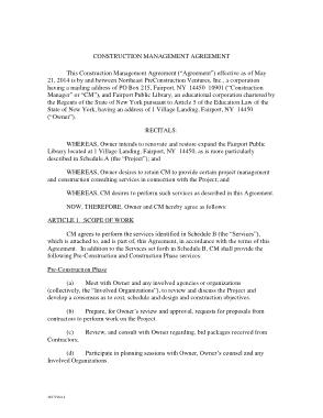 Commercial Construction Management Agreement Template