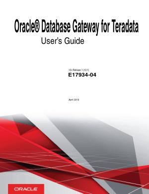 Oracle Database Gateway For Teradata