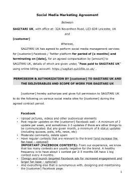 Free Download PDF Books, Sample Social Media Marketing Agreement Template