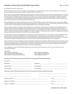Free Download PDF Books, Simpson University Social Media Agreement Template