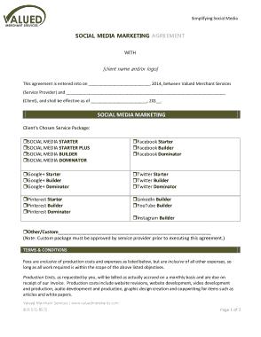 Free Download PDF Books, Social Media Marketing Agreement Template