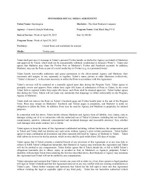 Free Download PDF Books, Sponsored Social Media Agreement Template
